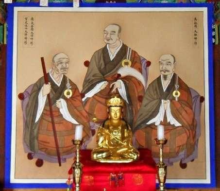 Mazu, Baizhang y Nanquan sentados juntos según una pintura de un templo Zen coreano