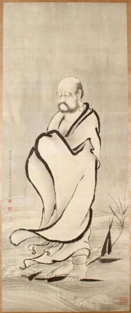 Bodhidharma cruzando el Yangtze en una caña · Bodhitāra volteando juguetonamente la joya