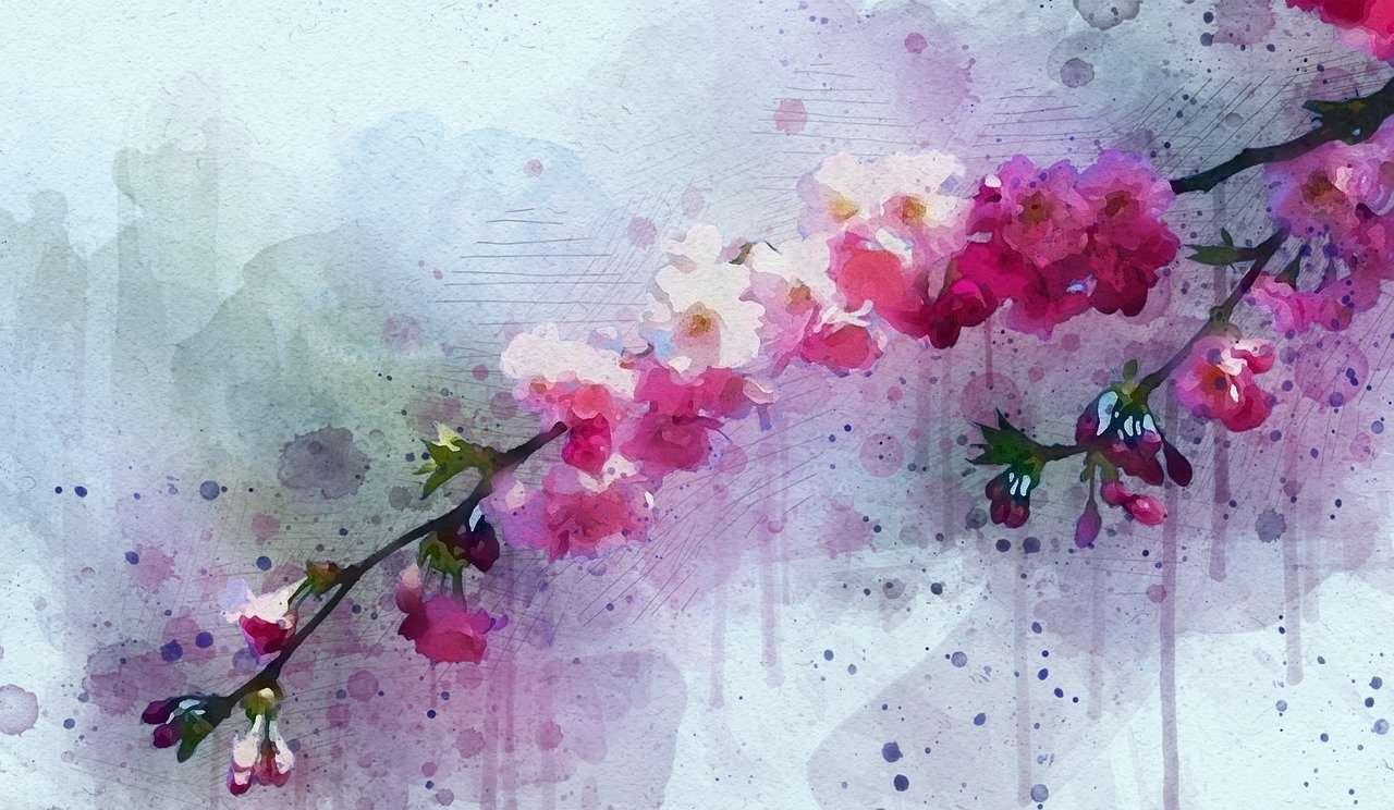 Flores en el cielo revoloteando
